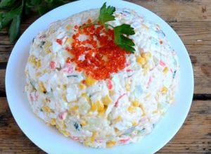 Крабовый салат рецепт классический с огурцом