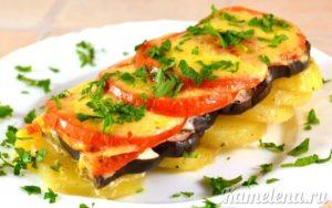 Картофель и баклажаны запеченные в духовке